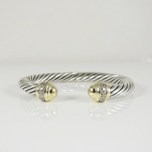 David Yurman Sterling Silver 18K Yellow Gold .48tcw 7mm Cable Classic Bracelet with Gold Domes and Diamonds