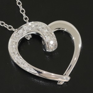 Ponte Vecchio 18k White Gold Diamonds Heart Design Pendant Necklace