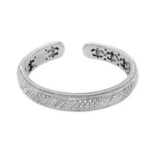 Judith Ripka 925 Sterling Silver Diamonique Stones Bangle Bracelet