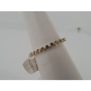 14K White Gold with Yellow Sapphire Zodiac Ring Size 6.5