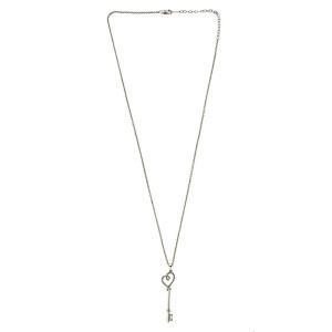 Sterling Silver Heart Diamond Key Necklace
