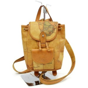 Alviero Martini Prima Classe Atlas Map 872433 Light Brown Coated Canvas Backpack