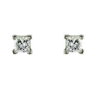 14k White Gold Princess Cut Stud Earrings