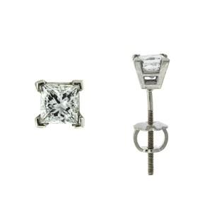 14k White Gold Princess Cut Stud Earrings