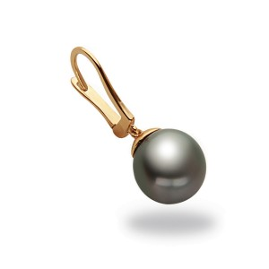 14k Yellow Gold Leverback Natural Color Tahitian Cultured Pearl Earrings