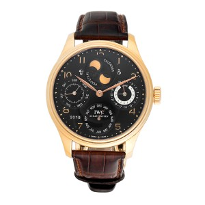 IWC Portuguese Perpetual Calendar Double Moon IW503202 Rose Gold 44mm Mens Watch