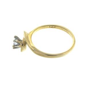 14k Yellow Gold Diamond Engagement Ring and Wedding Band Set