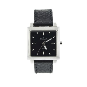 Skagen 251LSLB Mens Watch Square Stainless Steel Black Dial Leather Strap