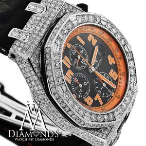 Audemars Piguet Royal Oak Offshore Chronograph  Stainless Steel Custom Diamond Watch Black Leather Strap 26170ST.OO.D101CR.01