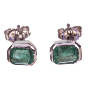 14K White Gold & Bezel Set Emerald Earrings