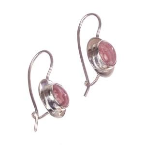 Sterling Silver & Pink Rhodochrosite Cabochon Earrings