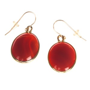 Carnelian Cabochon Dangle Earrings