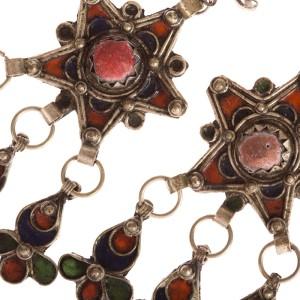 Moroccan Enamel Red Coral Chandelier Earrings