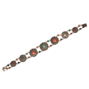 Persian Turquoise and Red Coral Bracelet