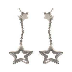 Sterling Silver Dangle Drop Star Earrings