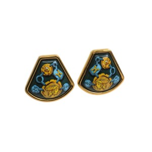Hermes Cloisonne And Palladium Enamel Clip Earrings