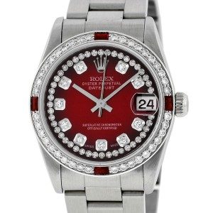 Rolex Datejust Oyster 78240 Red Vignette String Diamond Dial Womens 31mm Watch