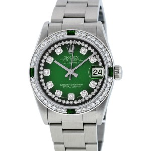 Rolex Datejust Oyster 78240 Green Vignette String Diamond Dial Womens 31mm Watch