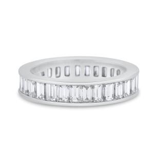 Platinum 3.41 Ct. Natural Diamond Baguette Channel Set Eternity Ring Band Size 6.5
