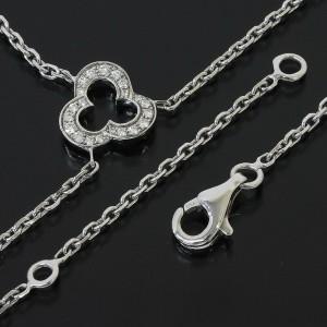 Chanel  18K White Gold Pave Diamonds Calcedony Camellia Necklace Pendant