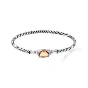 David Yurman 925 Sterling Silver Diamond Morganite Bracelet