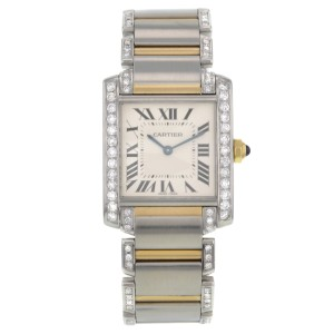 Cartier Tank Two Tone Diamond 28mm Quartz Watch
