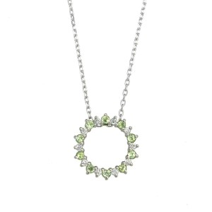 Vendome Aoyama Platinum Diamond Peridot Necklace