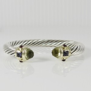 David Yurman Sterling Silver 14K Yellow Gold 7mm Lemon Citrine Iolite Rhodolite Garnet Renaissance Bracelet