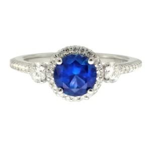 Ritani 18k White Gold Sapphire .47 ctw Diamond Ring Size 6.5