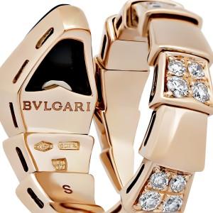 Bulgari 18K Rose Gold with 0.90ctw Diamond and Onyx Serpenti Ring Size 5