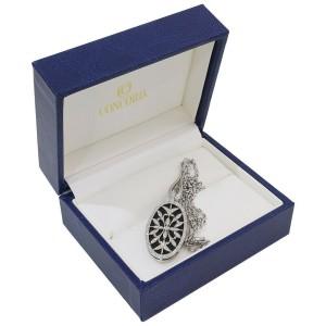 CONCORD 0.65ct Diamonds Onyx Pendant Necklace in Platinum 900/850 w/Box
