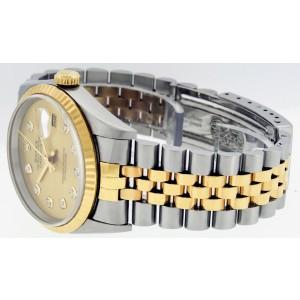 Rolex Datejust 16233 Champagne Diamond Fluted Bezel 36mm Mens Watch