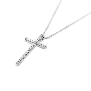 14k White Gold 0.19 Ct. Natural Diamond Classy Cross Pendant