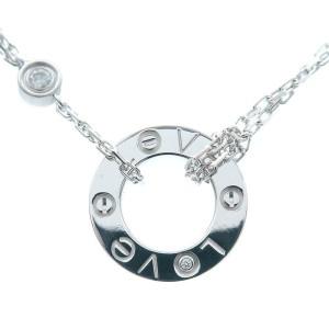 Cartier 2P Diamond & 18k white Gold Love Circle Necklace