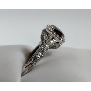 Verragio 18K White Gold 1.57ctw. Ruby Diamond Ring Size 7