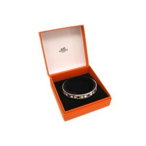 Hermes Enamel Cloisonne And Palladium Narrow Bangle Bracelet