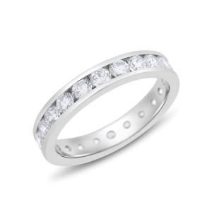 Platinum 2.20ct. Diamond Channel Set Eternity Band Size 8.5