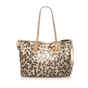 Visetos Leopard Print Leather Tote Bag