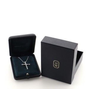 Harry Winston Madonna Cross Pendant Necklace Platinum with Diamonds Large