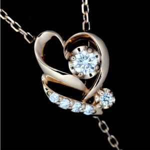 VENDOME Aoyama 18k pink Gold Diamond Heart motif Necklace