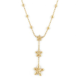 18k Gold Flower Y-shaped cut ball Chain Necklace