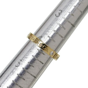 Tiffany & Co. 18K Yellow Gold 3P Diamonds Logo Wedding Flat Ring US4