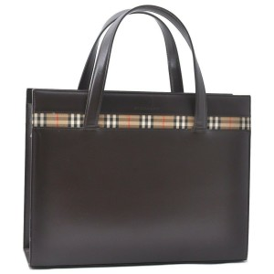 Burberrys Vintage Leather Hand Bag Brown