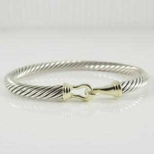 David Yurman  Sterling Silver 14K Yellow Gold 5mm Buckle Bracelet