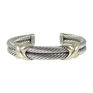 David Yurman 925 Sterling Silver 14K Yellow Gold 2-Row XX Bracelet