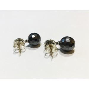 David Yurman Hematite Sterling Silver Ball Drop Earrings