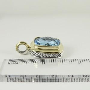 David Yurman Sterling Silver 18K Yellow Gold 20mm Blue Topaz Albion Enhancer
