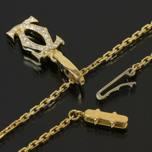 "Cartier Pave Diamonds ""CC"" Motif Necklace in 18K Yellow Gold"