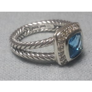 David Yurman Petite Albion Sterling Silver Blue Topaz & Diamonds Ring Size 7