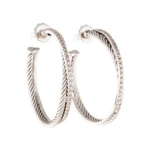 David Yurman Crossover Sterling Silver Diamonds Extra-Large Hoop Earrings
